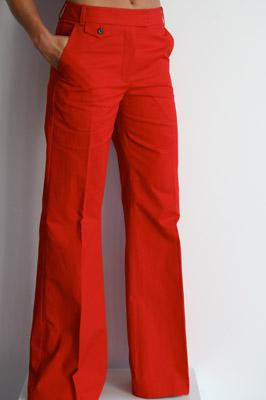 - 3.1 phillip lim high waisted scarlet red trouser pant front slant pckets tab front closure 295 100% cotton eleven boutique 4.24